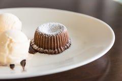 Chocolate lava cake set with ice cream Stock Photos