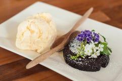 Chocolate lava cake with vanilla ice cream Royalty Free Stock Image