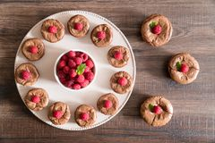 Chocolate lava cakes with fresh raspberries and mint. Delicious chocolate lava cakes with fresh raspberries and mint, arranged in a circle on the porcelan plate Stock Image