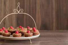 Delicious chocolate lava cakes with fresh raspberries and mint, on the plate. Chocolate lava cakes with fresh raspberries and mint leaves on porcelan plate and Stock Photography