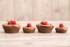 Delicious chocolate lava cakes with fresh raspberries and mint. Chocolate lava cakes with fresh raspberries, mint and chocolate pieces on wooden board in row Stock Images
