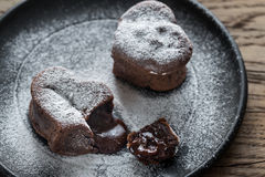 Chocolate lava cakes in the shape of heart Royalty Free Stock Photo