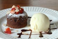 Chocolate lava and vanilla ice cream Stock Photo