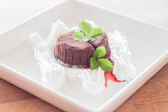 Chocolate lava with whiped cream Royalty Free Stock Photo