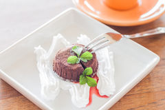 Chocolate lava on white plate and coffee cup Stock Image