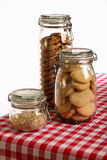 Chocolate and Lavender Cookies and Crushed Hazelnuts in a Jar Royalty Free Stock Photography