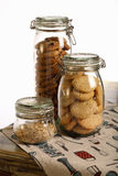 Chocolate and Lavender Cookies and Crushed Hazelnuts in a Jar Royalty Free Stock Photos