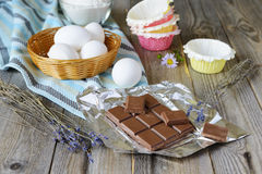 Chocolate, lavender and eggs for baking Stock Image
