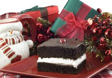 Chocolate Layer Cake with Christmas Decorations Royalty Free Stock Image