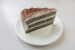 The Chocolate layer cake. At plate Stock Photo