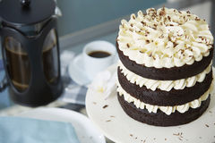 Chocolate Layer Cake Served with Fresh Coffee Stock Images