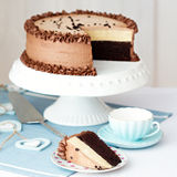 Chocolate layer cake royalty free stock photos