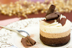 Chocolate Layered Mousse Cake. Freshly Prepared Chocolate Layered Mousse Cake Royalty Free Stock Images