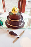 Chocolate Layered Wedding Cake Royalty Free Stock Photo