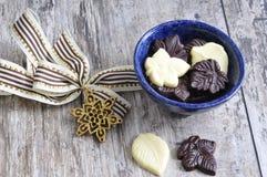Chocolate leaves Stock Photos