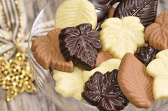 Chocolate leaves Royalty Free Stock Photos