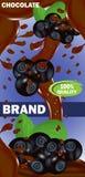 Chocolate leitoso ou amargo da etiqueta do molde do projeto com enchimento do mirtilo Vetor ilustração stock