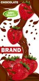 Chocolate leitoso ou amargo da etiqueta do molde do projeto com enchimento da morango Vetor ilustração royalty free