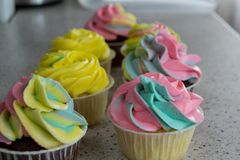 Chocolate and lemon cupcakes with colored cream stock image