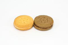 Chocolate and Lemon orange cream sandwich biscuit Stock Images