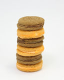 Chocolate and Lemon orange cream sandwich biscuit Royalty Free Stock Photo