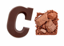 Chocolate letter C. Sweet candy. Royalty Free Stock Photo