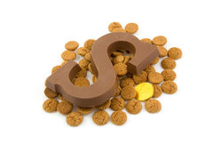Chocolate letter S and ginger nuts for Sinterklaas Royalty Free Stock Photo