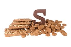 Chocolate letter, speculaas and ginger nuts, Dutch sweets Stock Photos