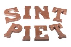 Chocolate letters making the word Sint  and Stock Photos