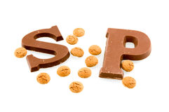 Chocolate letters from Sinterklaas. Isolated on white background Royalty Free Stock Photo