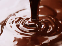 Chocolate liguid. Chocolate Flowing Background.Close-up image Stock Photos