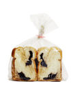 Chocolate loaded bread in plastic bag Stock Photo