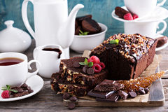 Chocolate loaf cake with nuts Stock Photo
