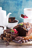 Chocolate loaf cake with nuts Royalty Free Stock Photos
