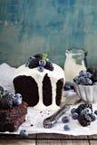 Chocolate loaf cake with thick yogurt glaze Royalty Free Stock Photo