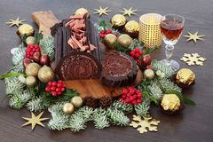 Chocolate Log Christmas Cake Royalty Free Stock Image
