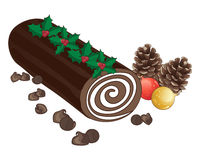 Chocolate log. An illustration of a festive chocolate cake with cream swirl in the shape of a log decorated with holly sprigs pine cones baubles and chocolate Royalty Free Stock Photography