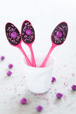 Chocolate lollipops. Chocolate party spoons, selective focus Royalty Free Stock Images
