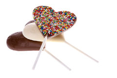 Chocolate Lollipops Isolated Stock Photography