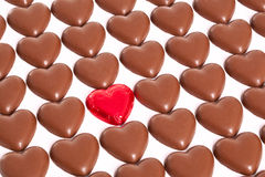 Chocolate love hearts Stock Images