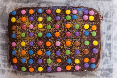 Chocolate M+M Cake Royalty Free Stock Images