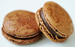 Chocolate macaron cookies Royalty Free Stock Images