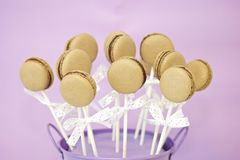 Chocolate macaron pops Royalty Free Stock Images