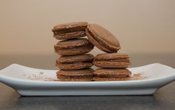 Chocolate Macarons Stock Photography
