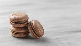 Chocolate Macarons Closeup, French Pastry Cookies stock photos
