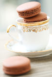 Chocolate macarons in tea cup Stock Photos
