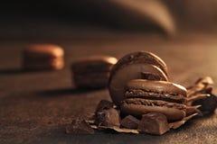 Chocolate macaroon. On black background Stock Image