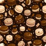 Chocolate macaroon and coffee seamless background Royalty Free Stock Photos