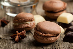 Chocolate macaroons Royalty Free Stock Photos