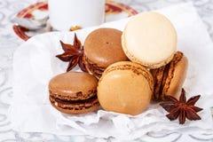 Chocolate macaroons Stock Photos